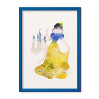 Snow White Princess FRAMED poster Watercolor Snow White Castle print Disney Watercolor Kids art Wall art NurseryGiclee Print