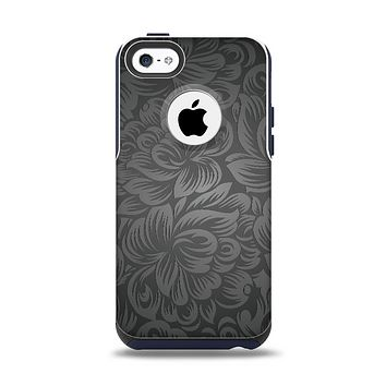 The Black & Gray Dark Lace Floral Apple iPhone 5c Otterbox Commuter Case Skin Set