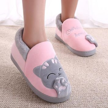 Women Cat Animal Warm Plush Home Flat Winter Slippers Female Slip On Soft Indoor Cover Comfort Shoes Ladies Plus Size Footwear