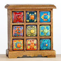 Wood Chests with Ceramic Drawers