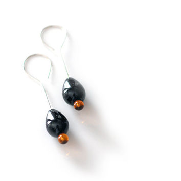 Modern black onyx raindrop earrings with golden amber on solid sterling silver unique drop ear hooks