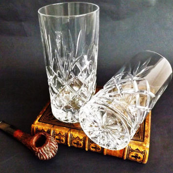 2 Cut Crystal Tumblers, Pair High Ball Glasses, Whiskey Whisky Beer Lemonade Water Juice Milk, Vintage Bar, Crystal Barware, Man Cave Gift