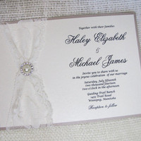 Lace Wedding Invitation - Ivory, Cream, Metallic Shimmer, VintageLace