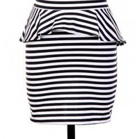 STRIPED PEPLUM KNIT SKIRT @ KiwiLook fashion