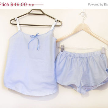 ON SALE SIZE Xs ~ Voile Bleu ~ Women's Sleepwear Shorts and Sleep top ~ Edwardian Lady ~ Pyjamas boxer shorts lingerie loungewear Blue