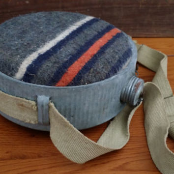 Vintage Striped Wool Covered Camping Hiking Canteen