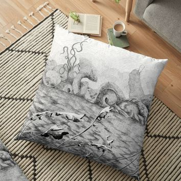 'Creatures from faraway land' Floor Pillow by Speardog