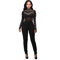 Women Rompers Jumpsuit Long Sleeve Perspective Sexy Club Jumpsuits Geometric Rhinestone Bodycon Jumpsuit Sexy Clubwear