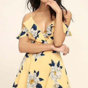 J.O.A. Flutter Yellow Floral Print Off-the-Shoulder Skater Dress