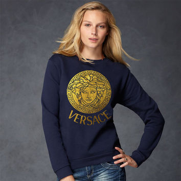 Women Lady Versace Crew Neck Sweatshirt screen printing on Quality American Brand apparel S-2XL