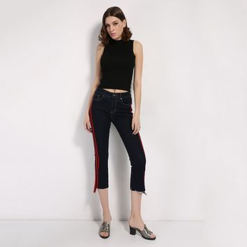 Women Striped Spliced  Denim Jeans Fashion High Waist Ankle-Length Flare Pants Early Spring Summer Jeans