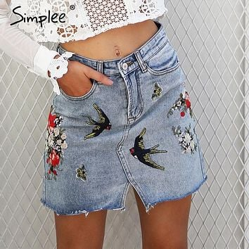 Simplee Embroidery split denim skirt women jeans skirt High waist pocket mini skirt female Chic streetwear winter skirt 2017