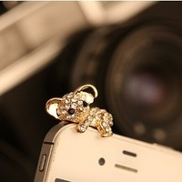 Rhinestone Stone Pave Cute Koala Smart Phone Plugy for iPhone and Samsumg