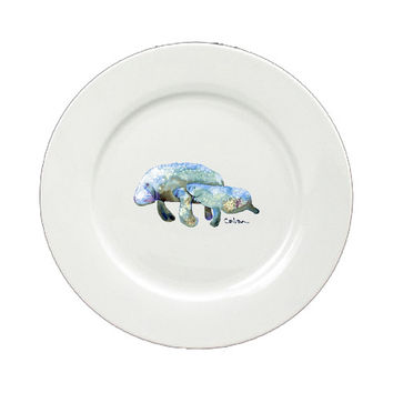 Manatee Momma and Baby Round Ceramic White Salad Plate 8660-DPW