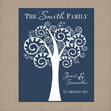 Family Tree Custom Wall Art Canvas Artwork Couple TREE Personalized Name Established Date Love Birds Print Wedding Anniversary Gift Decor