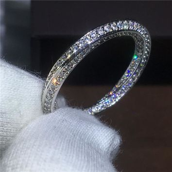 Cross Jewelry lovers 925 Sterling silver ring Pave setting AAAAA Zircon Cz stone Engagement wedding band rings for women bridal