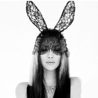 Valentine's Day Black Lace Rabbit Headband,Lace Bunny Ears Headband,Cosplay Sexy Mask Costume,Animal Mask Lace,Cosplay Black Lace Hare Masks
