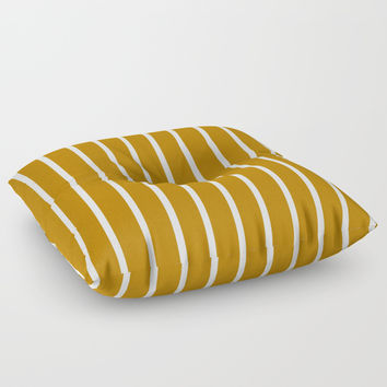 Gold and White Stripes Floor Pillow by 11penguingirl