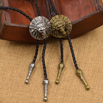Qlychee Fashion Indian 3D Cacique Head Pendant Necklace Bolo Tie Bola Ties Native American Necktie Necklace Gift