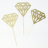 Gold Glitter Diamond Cupcake Toppers. Bachelorette Party. Engagement Party Decor. Baking Tools. Party Supplies. Party Decor. Paper.