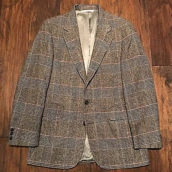 Vintage Stafford 2-Button Wool Herringbone Style Jacket Mens Sport Coat Size 40R
