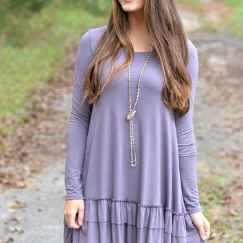 Double the Fun Purple Ruffle Top Curvy Sizes