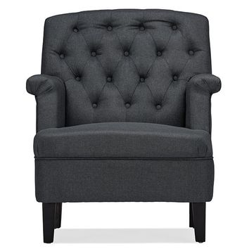 Baxton Studio Jester Classic Retro Modern Contemporary Grey Fabric Upholstered Button-tufted Armchair Set of 1