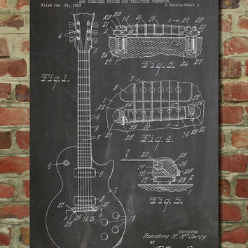 Gibson Les Paul Electric Guitar Patent Wall Art Poster