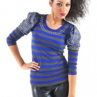 Stripe Embellished Top - Diva Hot Couture