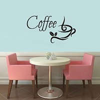 Wall Decals Vinyl Decal Sticker Words Coffee Time Coffee Cup Coffee Beans Coffee Mug Home Interior Design Art Murals Kitchen Cafe Decor
