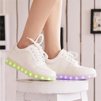 Led shoes for adults running sports light sneakers