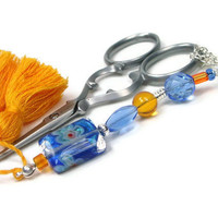 Scissor Fob Beaded Orange Blue Cross Stitch Needlepoint Sewing Quilting