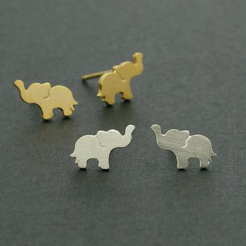 Baby Elephant Stud Earrings / lucky elephant earrings, yoga jewelry, india inspired / E123
