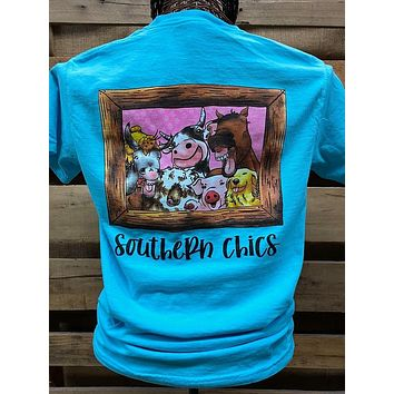 Southern Chics Farm Family Animals Pig Horse Cow Comfort Colors Bright T Shirt