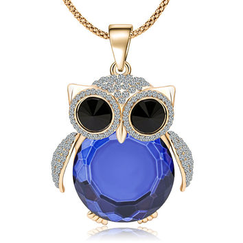 New Brand Charms Long Owl Necklace Vintage Crystal Gem Cubic Zircon Diamond 18K Gold Necklaces&Pendants Women Fine Jewelry  A012