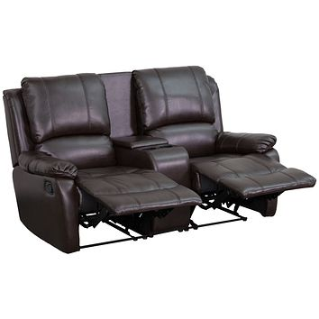 Allure 2-Seat Reclining Pillow Back Leather Theater Seating Cup Holders