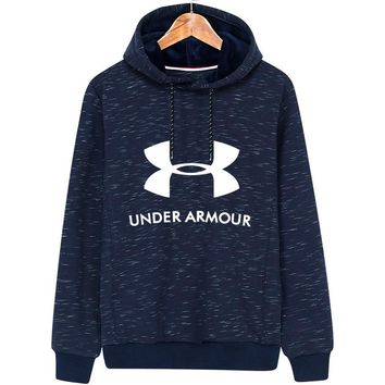 Under Armour autumn and winter models men's hooded sports jacket plus velvet pullover sweater Blue