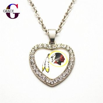 Fashion Washington Redskins Football Sports Charms Heart Crystal Necklace Pendant With 50cm Chains For Women Men Diy Jewelry