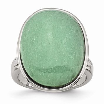 Stainless Steel Green Aventurine Ring