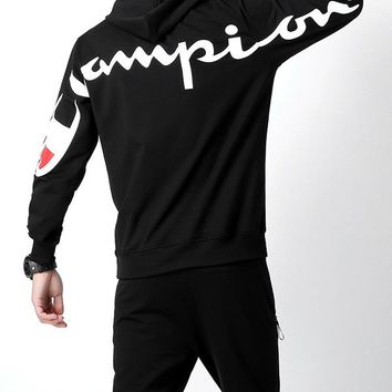 Champion 2018 autumn and winter new men's sports wild outdoor sportswear two-piece Black