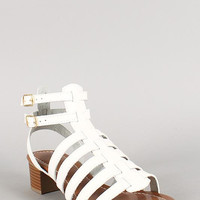 Strappy Double Buckle Open Toe Chunky Heel Color: White Pu, Size: 10