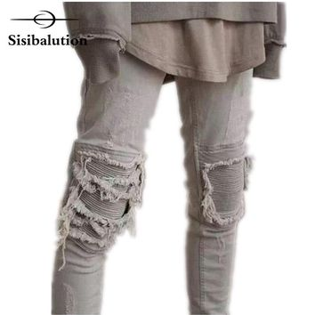 Plus Size 2017 New Men Brand Clothing Casual Ruched Mens Jeans Skinny Slim Biker Jeans Denim Long Pants ripped jeans homme