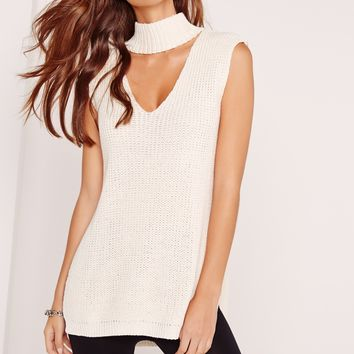Missguided - Choker Neck Chunky Tunic Cream