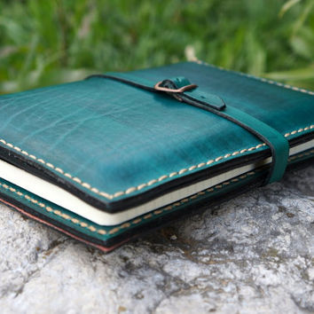 Ipad Mini and Large Moleskine cover leather green, Leather kindle fire hdx 7 cover ,Personalized