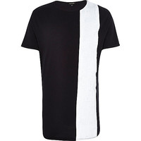 River Island MensBlack statement stripe curved hem t-shirt