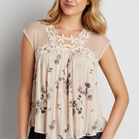 lightweight floral print top with mesh and crochet | maurices
