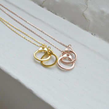 Adjustable Handcuff Necklace - Infinity Necklace - Silver Necklace - Rose Gold Necklace - Handcuff Pendant - Interlocking Necklace