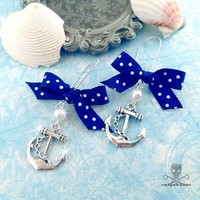 SWEET SAILORETTE - Blue Bows and Silver Anchor Earrings