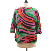 Vintage 60s Top Psychedelic Pattern Back Button Blouse Shirt L XL