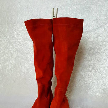 TALL RED BOOTS Slouch Boots Women Suede Boots Flat Red Boots Womens Leather Boots Flat Women Boots Tall Suede Boots Size 40 Us 8- 8.5